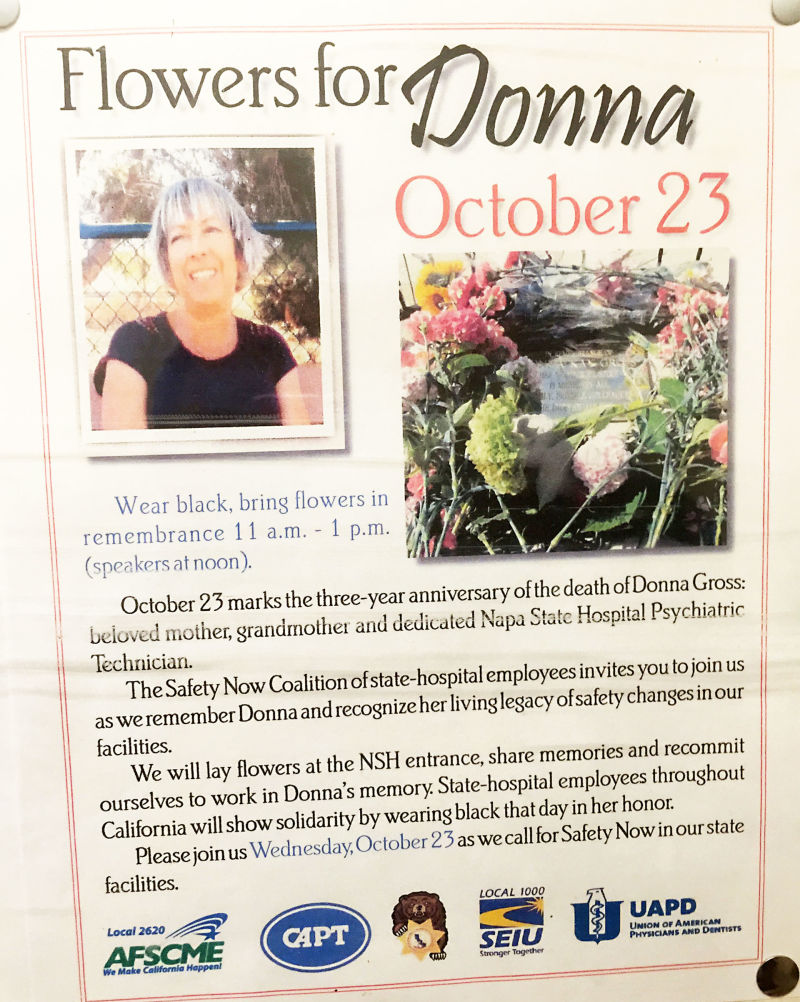 A poster in the union hall at Napa State Hospital invites workers to a memorial service for their murdered co-worker Donna Gross.