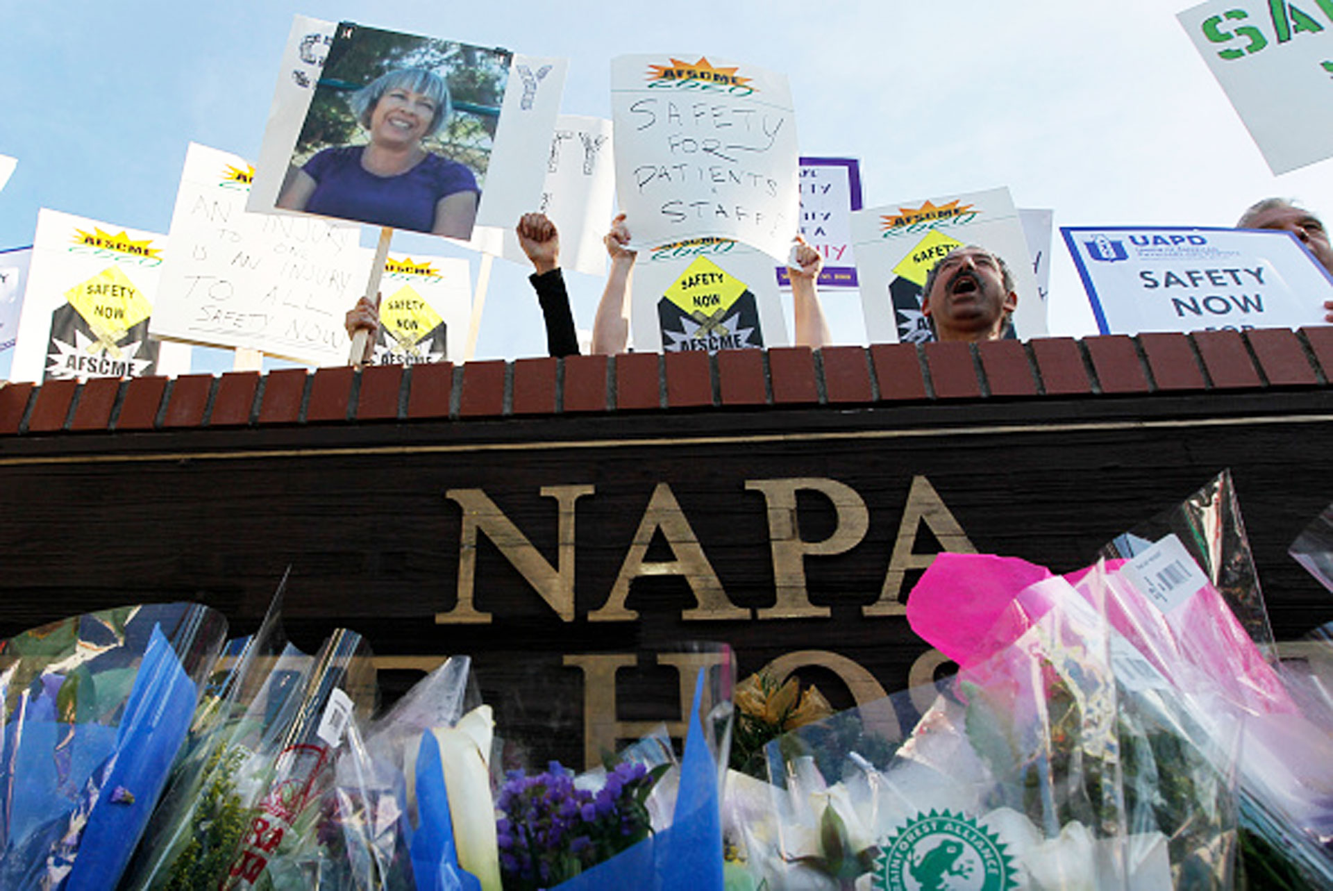 Nearly 200 Napa State Hospital workers demonstrate for safer conditions in 2010, in the wake of the killing of staff member Donna Gross at the hands of a patient.