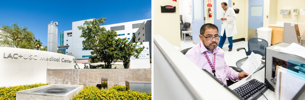 (L) The Los Angeles County-USC Medical Center is the county's biggest and busiest public hospital. (R) Walfred Lopez, a community health worker at the center, looks over a patient's health record