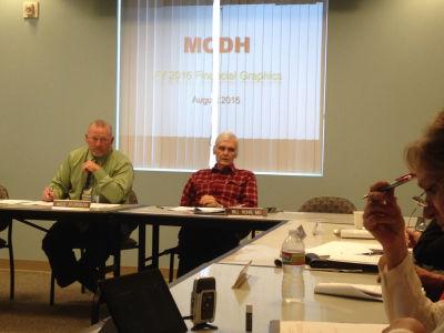 Mendocino Coast District Hospital CFO Wade Sturgeon (L) and board member Bill Rohr at a recent hospital board meeting.