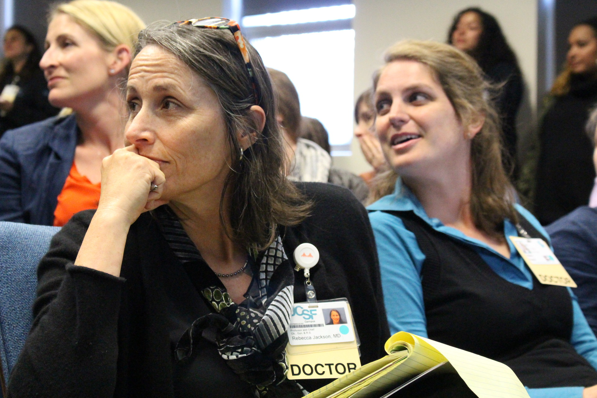 "Dr. Rebecca Jackson, New Generation's main supervisor, and Dr. Valerie French (right), medical director, listen to speakers at a community forum in April about the potential closure of New Generation. After the meeting, Jackson said she was hopeful New Generation could find more funds to stay open ""given the huge outpouring of concerned people."""