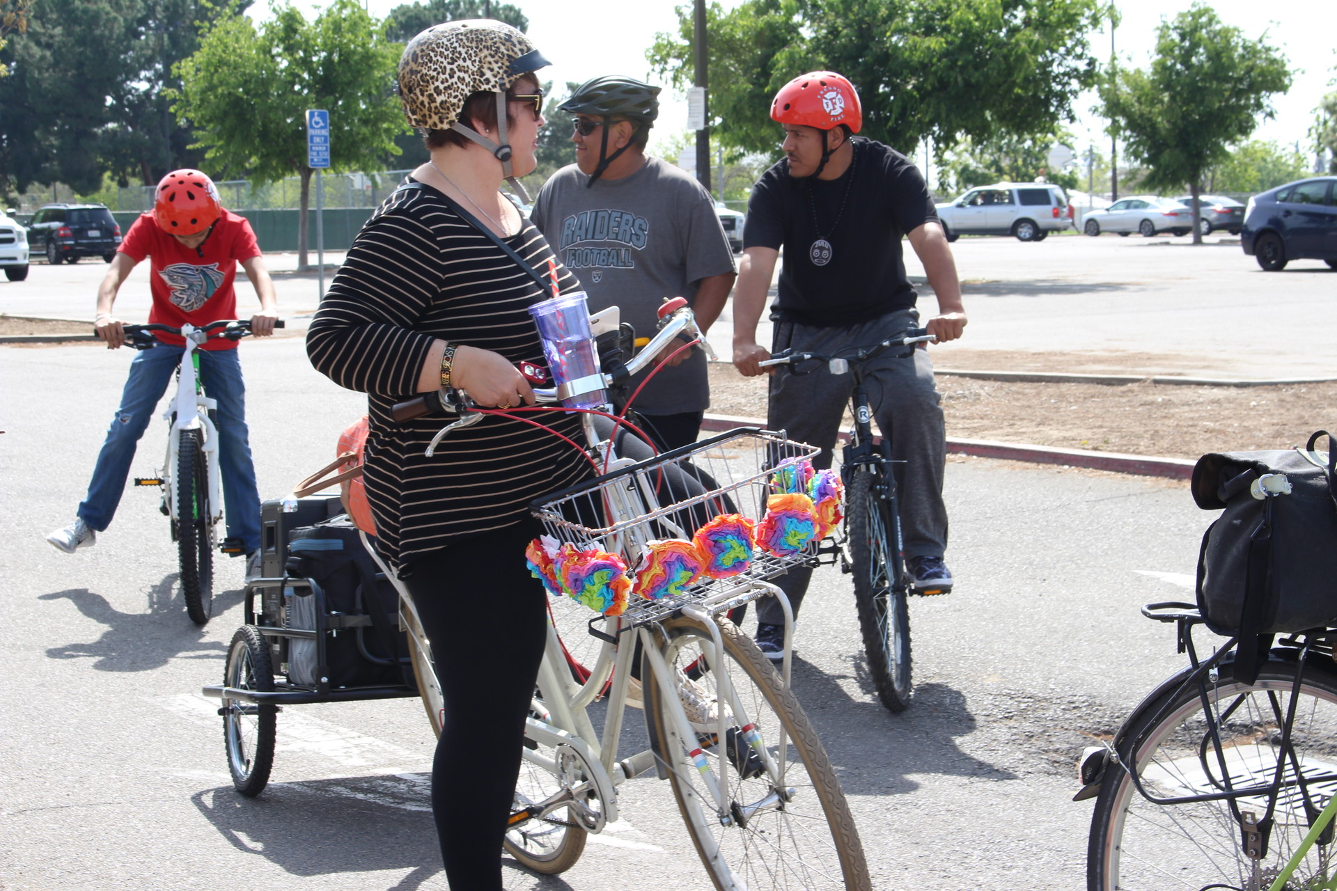Genoveva Islas prepares to begin a group bike ride in Fresno. Islas directs Cultiva la Salud, a local non-profit pushing to create 'healthier environments' in Fresno and other parts of the San Joaquin Valley as a way to prevent chronic illnesses.
