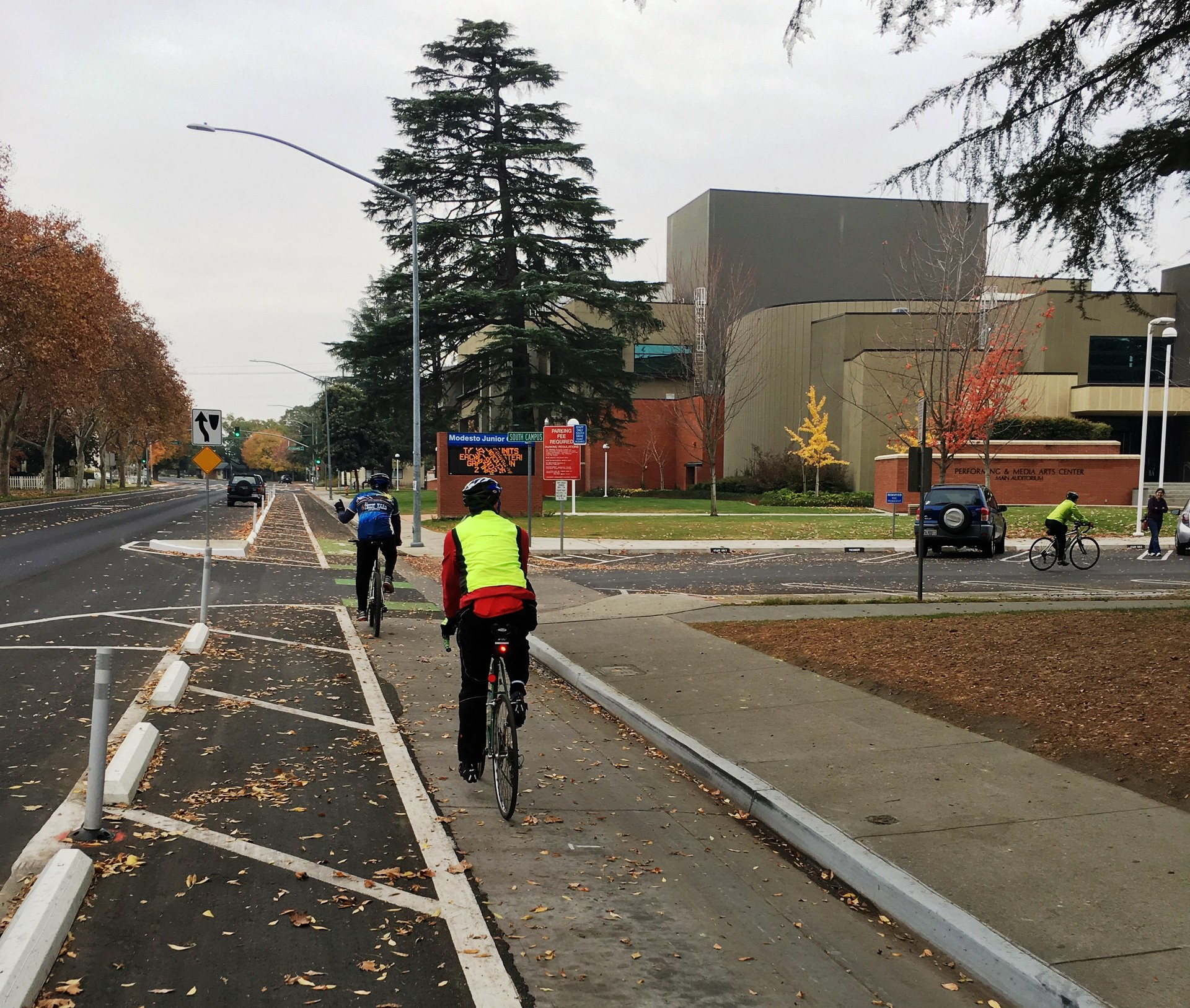 Bikers use new lanes opened last year in the Modesto Junior College area. The city paid $1.5 million in local funds to complete the project.
