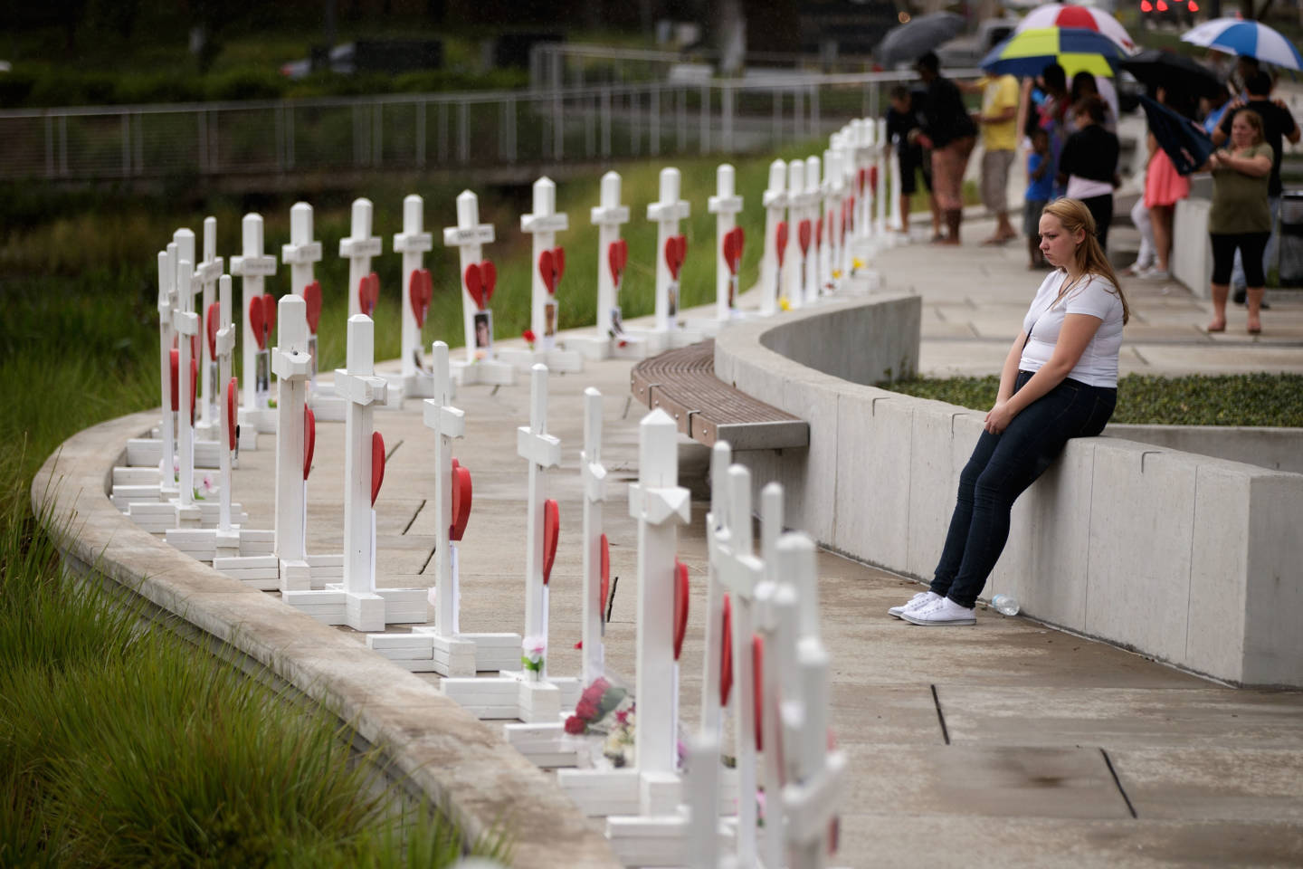 A memorial with wooden crosses for each of the 49 victims of the Pulse Nightclub mass shooting in Orlando, Florida.  Drew Angerer/Getty Images