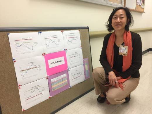 Doctor Alice Chen kneels by charts she uses to analyze the efficacy of her clinic at Zuckerberg San Francisco General Hospital. She says initiatives like this are possible through the additional funds the hospital receives through the Affordable Care Act.