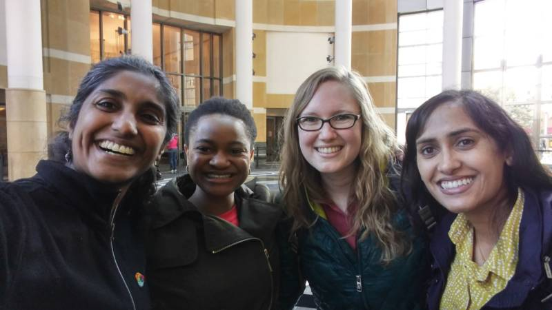 (From left to right) Doctors Jyothi Marbin, Abimbola Dairo, Emma Anselin, and Preeya Desai are getting politically active in response to President Trump's proposed health and immigration policies. They met with staff from U.S. Congresswoman Barbara Lee's office to discuss their concerns about how immigration is affecting the health of Bay Area children.