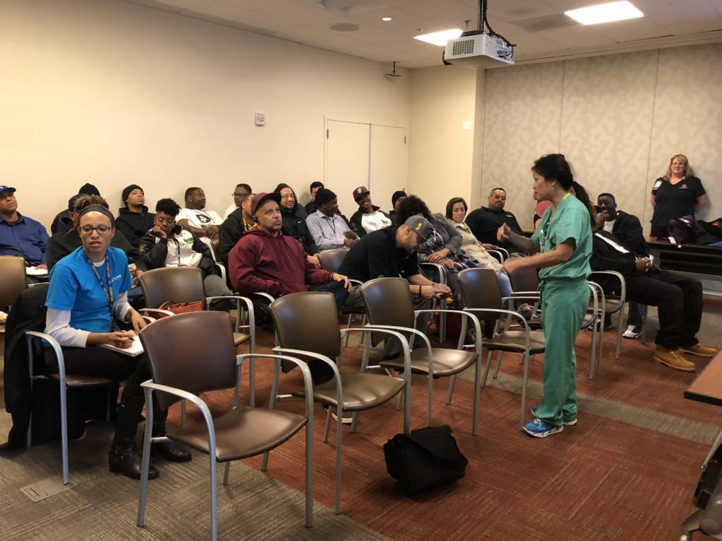 "Nurse Practitioner Tina Quon directs a ""Stop the Bleed"" training at Oakland's Highland Hospital."