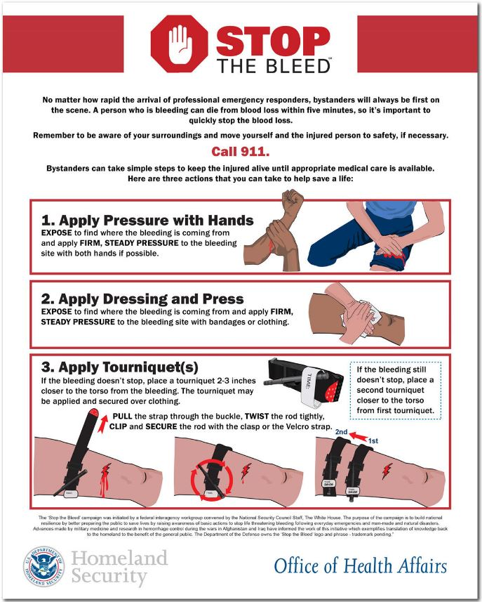 "An archived page on the Department of Homeland Security website displays an informational ""Stop the Bleed"" flier."