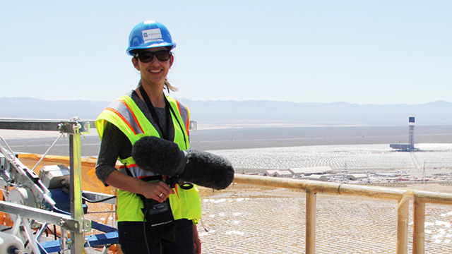 KQED Science radio reporter Lauren Sommer reporting on the Ivanpah solar project. More than 170,000 mirrors will focus the sun's heat on three towers where it will turn water into steam.