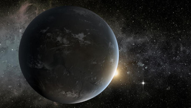 The artist's concept depicts NASA's Kepler misssion's smallest habitable zone planet. (Credit: NASA Ames)
