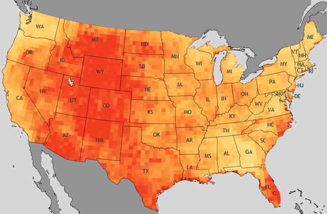 Increase in total heat wave days per summer, comparing 1970-2000 and 2040-2070. (Image: NOAA)