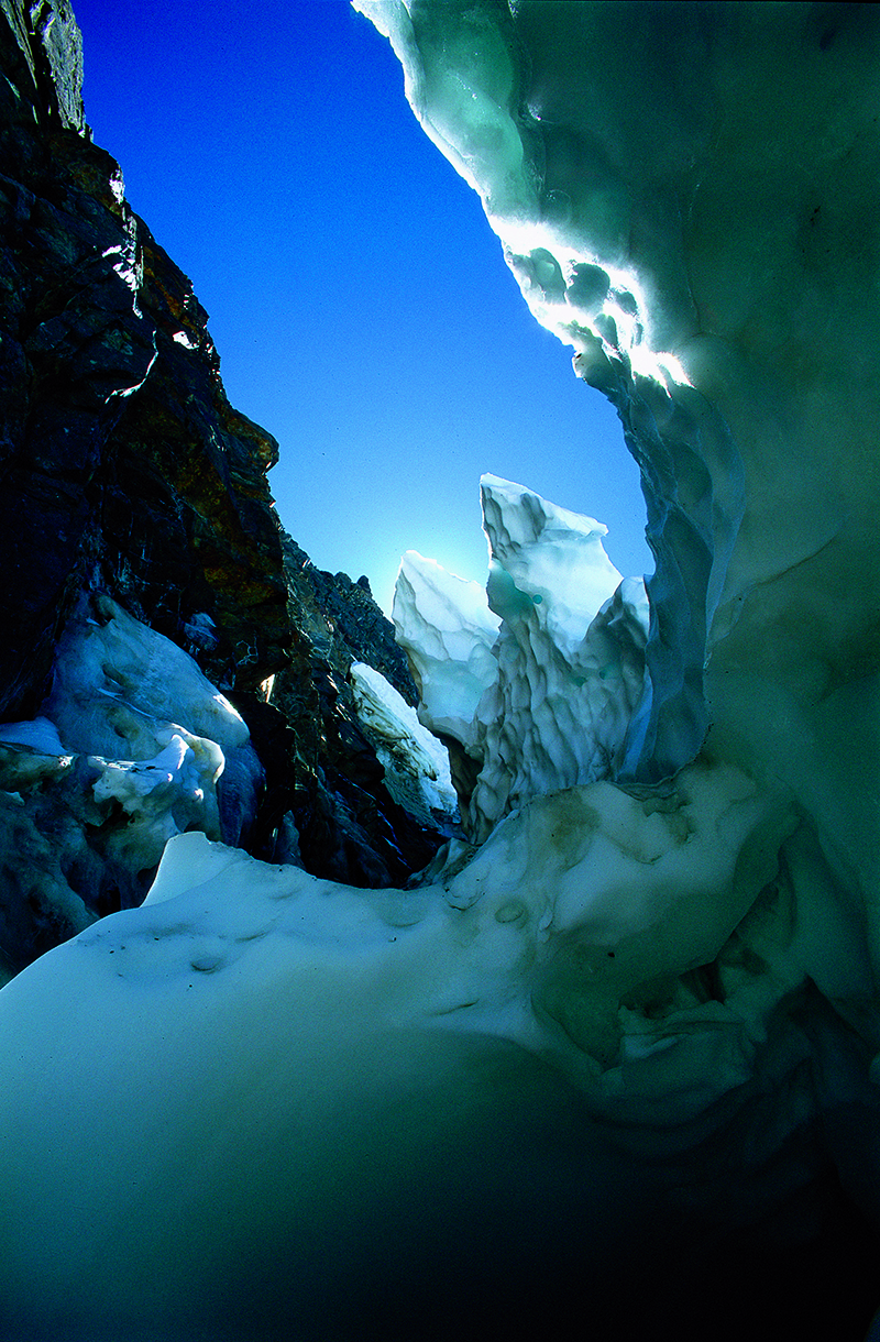 Inside the bergschrund, where the top of the Maclure Glacier curls away from the mountainside.