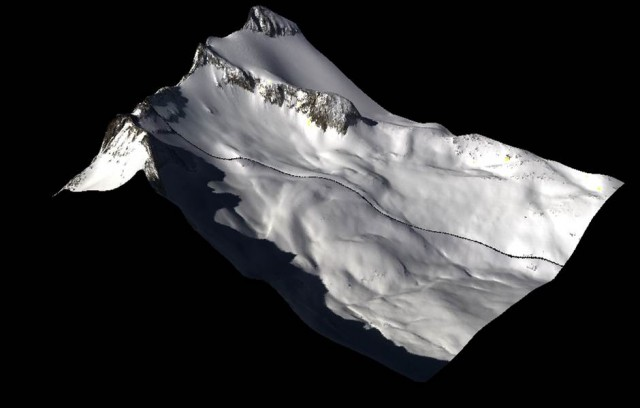 Data from the spectrometer draped on snow-on digital elevation surface shows snow-covered areas and the granite of Mt. Lyell's peak. (Courtesy NASA)