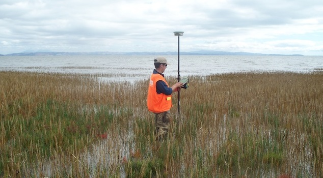 A USGS researcher takes precise elevation measurements of a marsh on San Francisco Bay. (Photo: USGS)