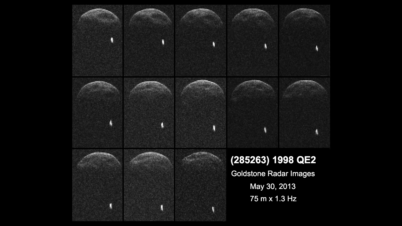These radar images of QE2, taken from the Deep Space Network antenna at Goldstone, Calif., reveal that QE2 has a moon approximately 2,000 feet wide.