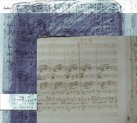 The smudged out pages of the 1797 score of Médée and the new reconstruction, made by shooting X-rays at the paper to reveal the notes beneath. (SLAC)