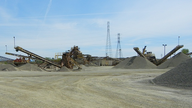 Gravel piles at the Tiechert quarry near Yuba City