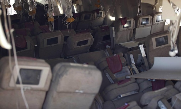 The jumble of seats and deployed oxygen masks on board the crashed Asiana flight 214. (Photo: NTSB)
