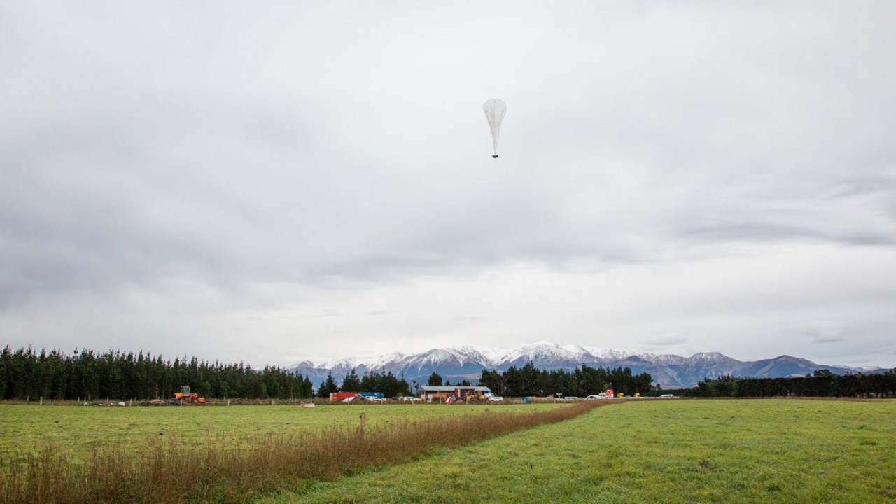 A Project Loon balloon flies over a farm in New Zealand as part of a test flight. (Courtesy: Google)