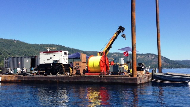 The barge serves as an operating base for the scientists studying Lake Tahoe's faults. (Scott Detrow/KQED)