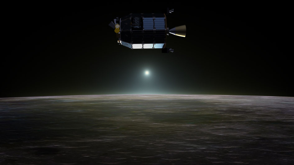 Artist's conception of NASA's Lunar Atmosphere and Dust Environment Explorer (LADEE) spacecraft in orbit above the moon as dust scatters light during the lunar sunset. Image credit: NASA Ames / Dana Berry