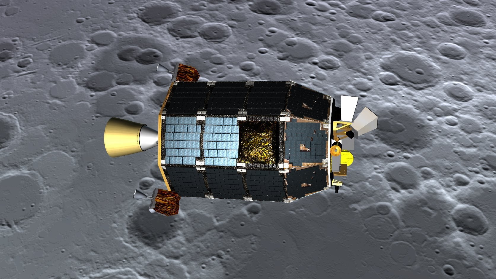 An artist's concept of NASA's Lunar Atmosphere and Dust Environment Explorer (LADEE) spacecraft seen orbiting near the surface of the moon. Image credit: NASA Ames / Dana Berry