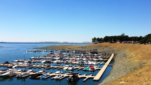 Low water levels at Folsom Lake are exposing more steps to get down to the dock than usual for this time of year. (Scott Detrow/KQED)