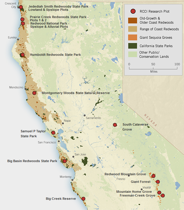 Click to go to a larger, interactive version of the map. (Courtesy Save the Redwoods League)