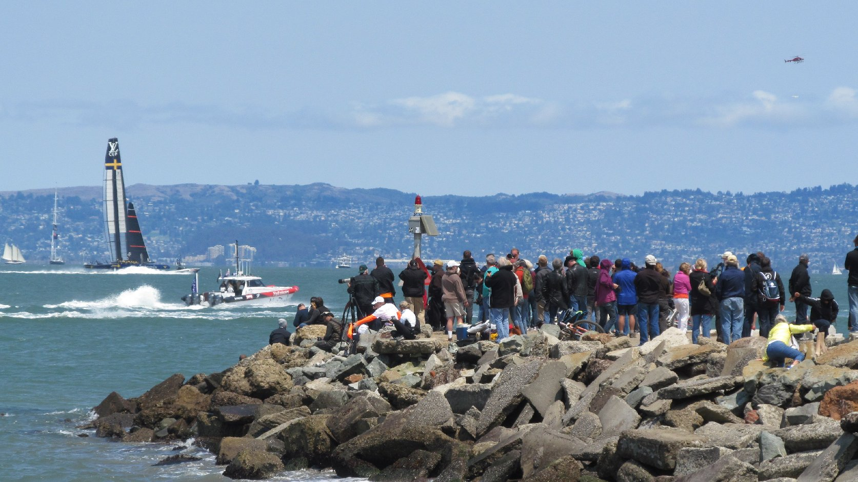 One of the the best viewing spots for the America's Cup is the jetty near Land's End. (Mike Osborne/KQED)