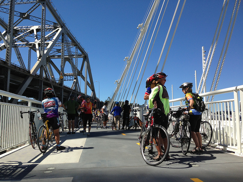Cyclists gathered yesterday at the opening of the new Alexander Zuckermann bicycle and pedestrian path. Credit: Jenny Oh / KQED Science