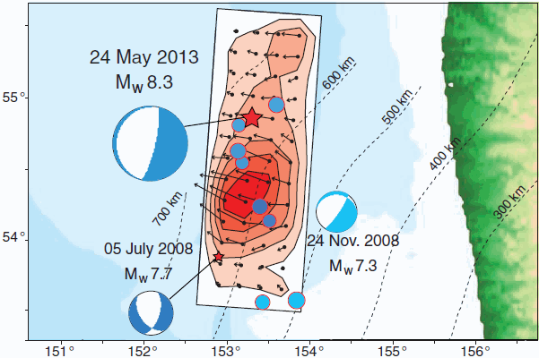 Rupture zone of the 2013 Sea of Okhotsk quake