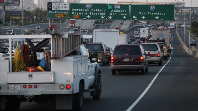 The Bay Area Air Quality Management District will begin monitoring emissions near highways. (Deborah Svoboda/KQED)