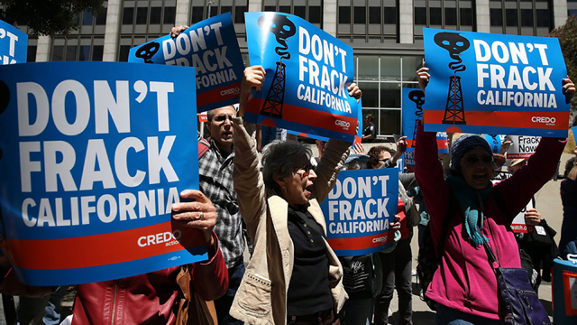 The group Californians Against Fracking protested outside the San Francisco office of  Gov. Jerry Brown, demanding that he support a ban on hydraulic fracturing in oil and gas exploration. (Justin Sullivan/Getty Images)