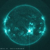 NASA's Solar Dynamics Observatory captured this image of a solar flare on Nov. 10, 2013.  (NASA/SDO)
