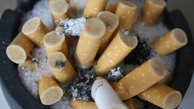 cigarette stubs in an ashtray