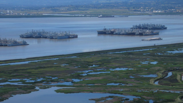 "Aerial photo from 2005 shows the proximity of the ""mothball fleet"" to Suisun Marsh. (Craig Miller)"