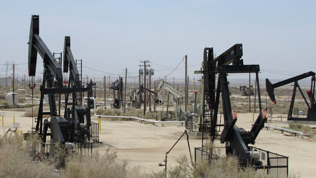 Oil wells in Kern County, where much of California's fracking has taken place. (Craig Miller/KQED)
