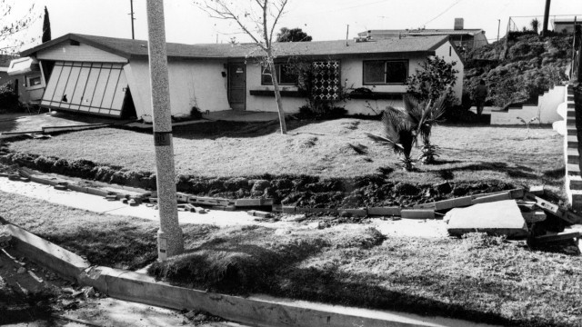 San Fernando, California, Earthquake February 1971. House damaged by displacement along reverse fault. 1971. (U.S. Geological Survey)