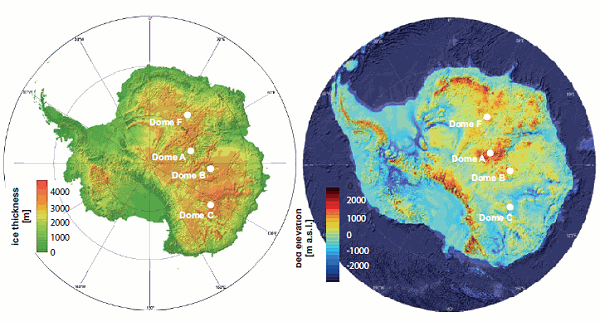 Antarctic ice thickness and surface topography