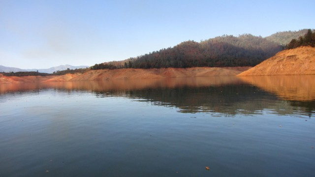 Low water levels at Shasta Lake in fall, 2013. (Molly Samuel/KQED)