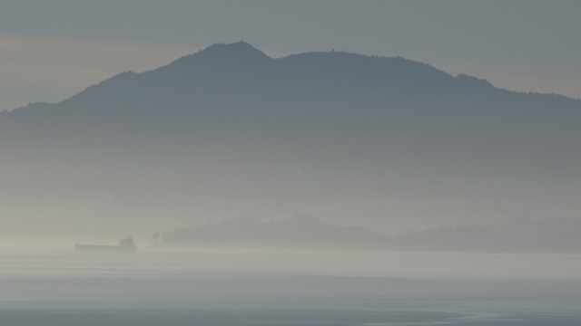 Not fog: a passing tanker is barely discernible in the Christmas Day smog surrounding Mt. Tamalpais. (Craig Miller)