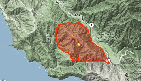 The Pfeiffer Fire consumed more than 900 acres. (USFS/Inciweb)