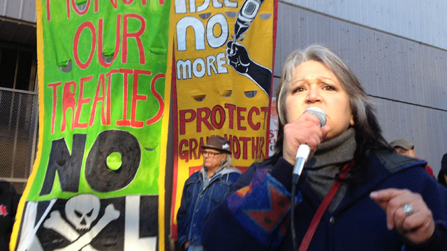Pennie Opal Plant from the environmental group Idle No More at a rally at the Air District in San Francisco says she's concerned about crude oil from the Tar Sands. (Molly Samuel/KQED)