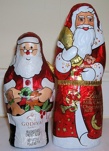 shiny chocolate santas
