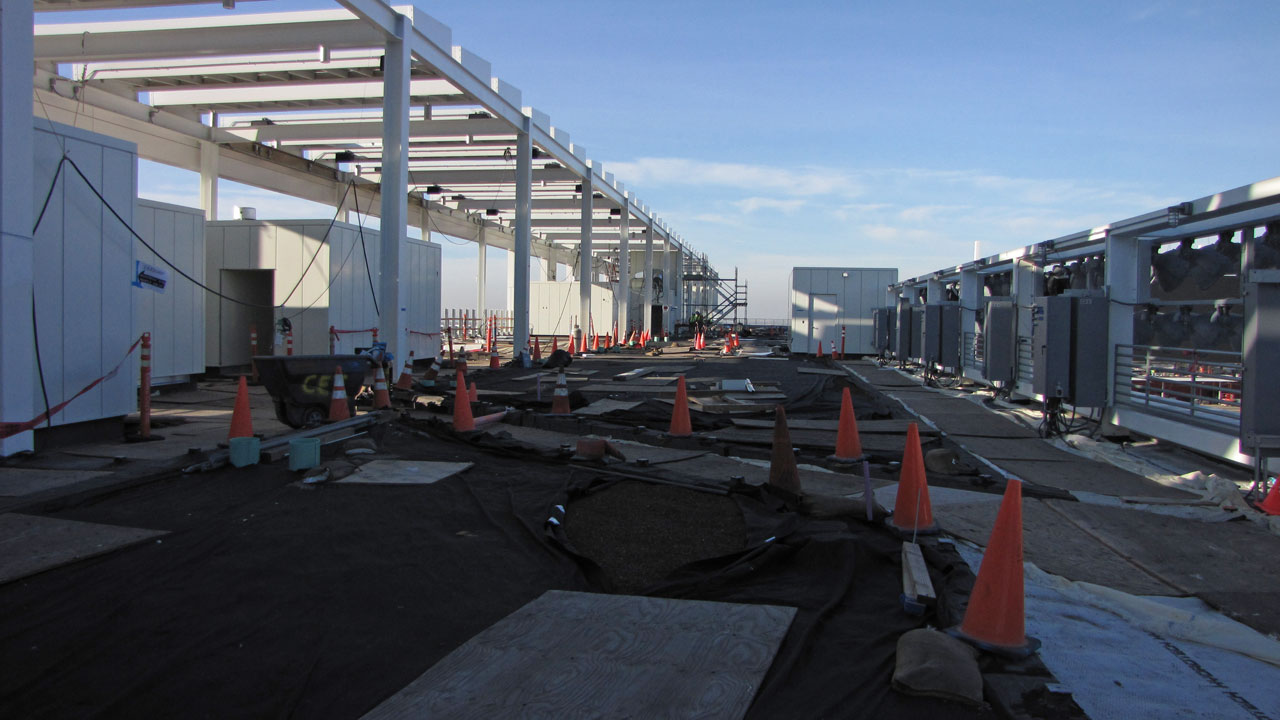 There will be a garden on the roof over the suites in Levi's Stadium. Solar panels are mounted on the structure on left side. (Molly Samuel/KQED)