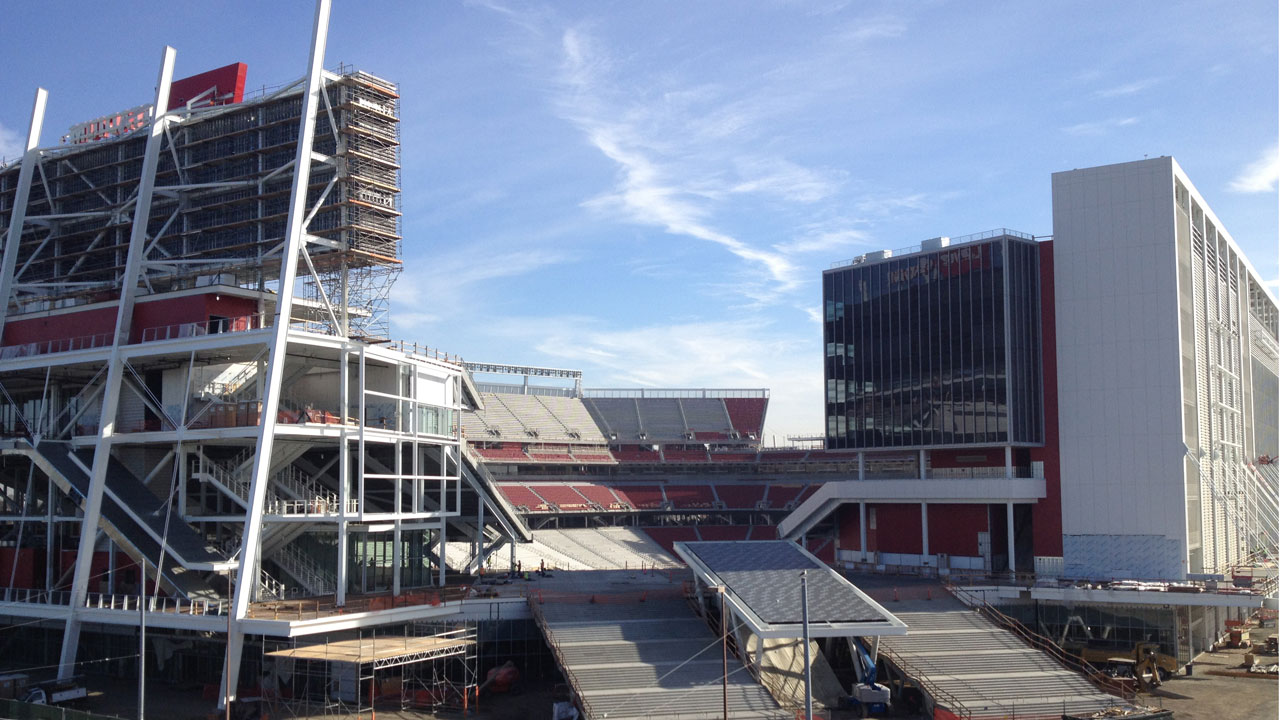 Levi's Stadium, the 49ers' new home in Santa Clara, is replacing Candlestick, one of the oldest parks in the NFL. (Molly Samuel/KQED)
