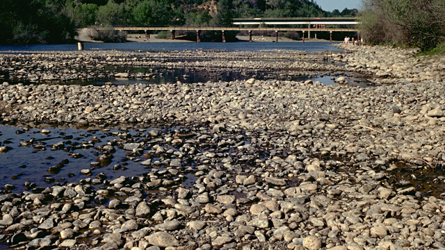The American River during 1977 drought, when freshwater flows were drastically low. (Photo: CA DWR)