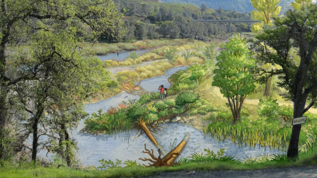 A restored view of the Lower Yuba river in the Sacramento Valley by Mona Carron.
