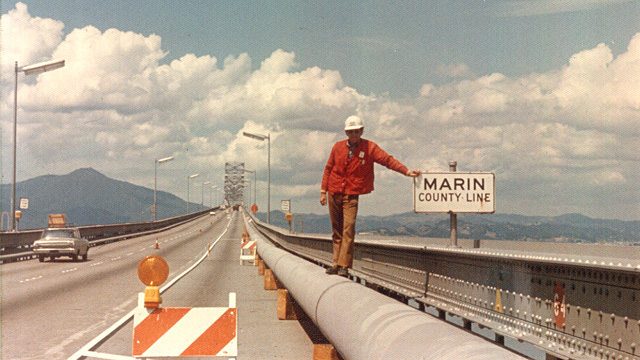 A water pipe was built across the San Rafael Bridge in 1976 to supply Marin County, as California's most severe drought hit the area. (Photo: Marin Municipal Water District)