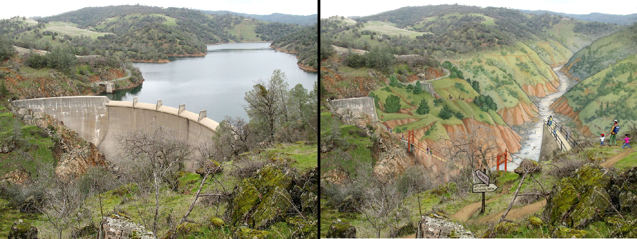 A view of Englebright Dam, on the left, and a drawing what the area could look like without it, by Mona Carron